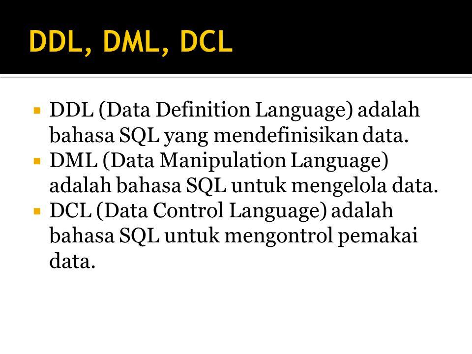  DDL (Data Definition Language) adalah bahasa SQL yang mendefinisikan data.