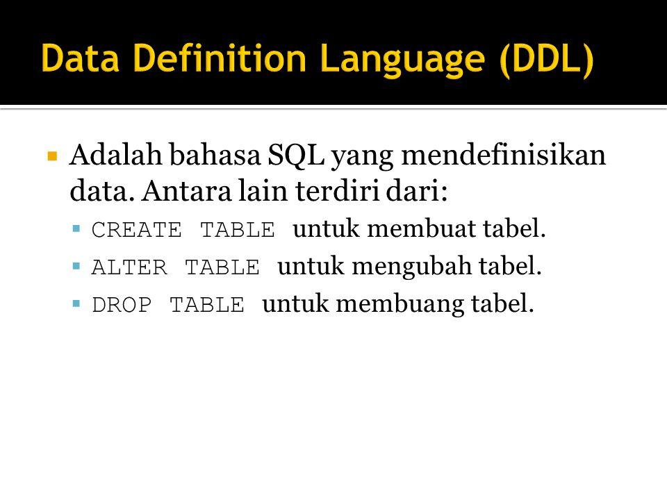  Adalah bahasa SQL yang mendefinisikan data.