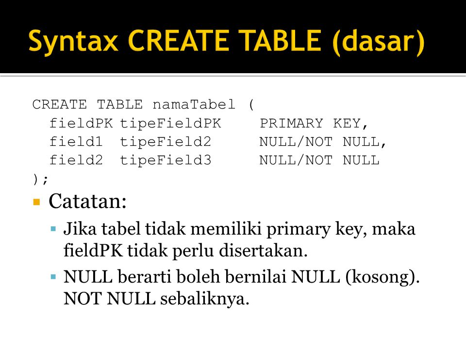 CREATE TABLE namaTabel ( fieldPKtipeFieldPKPRIMARY KEY, field1tipeField2NULL/NOT NULL, field2tipeField3NULL/NOT NULL );  Catatan:  Jika tabel tidak memiliki primary key, maka fieldPK tidak perlu disertakan.