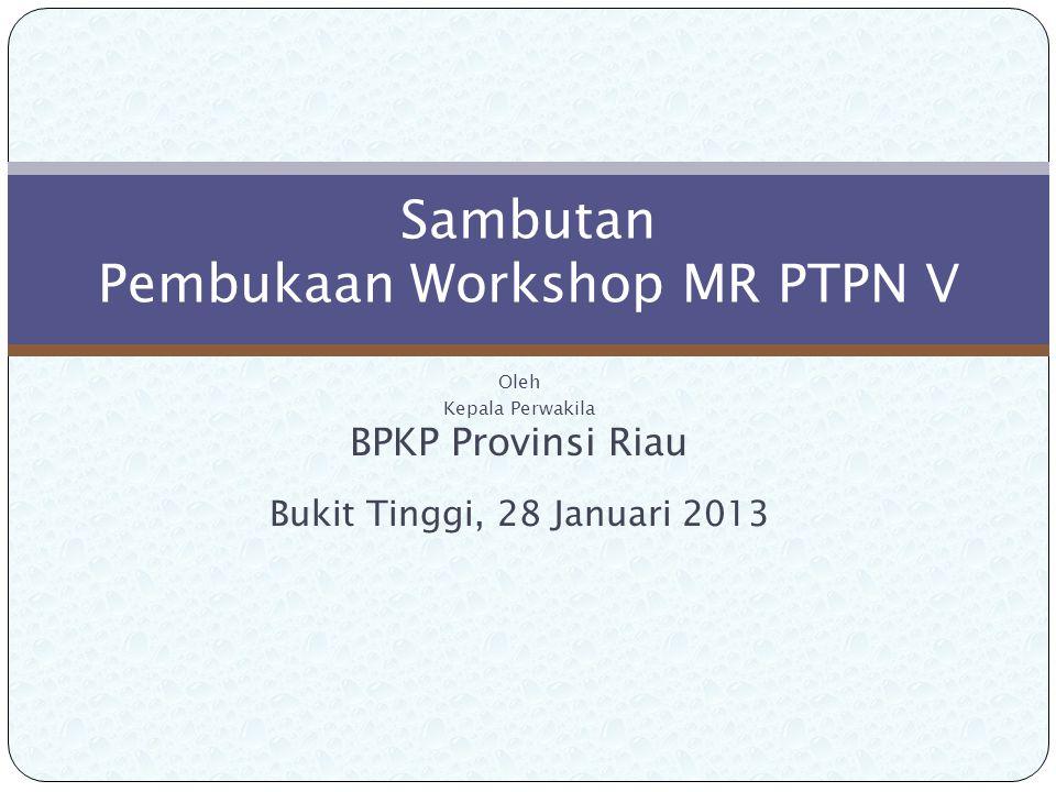 Oleh Kepala Perwakila BPKP Provinsi Riau Bukit Tinggi, 28 Januari 2013 Sambutan Pembukaan Workshop MR PTPN V