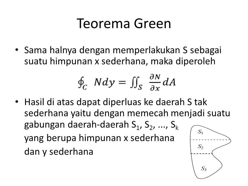 Teorema Green Teorema green tetap berlaku untuk suatu daerah S dengan satu atau beberapa lubang, asal saja tiap bagian dari batas terarah sehingga S selalu di kiri selama seseorang menelusuri kurva dalam arah positif seperti gambar