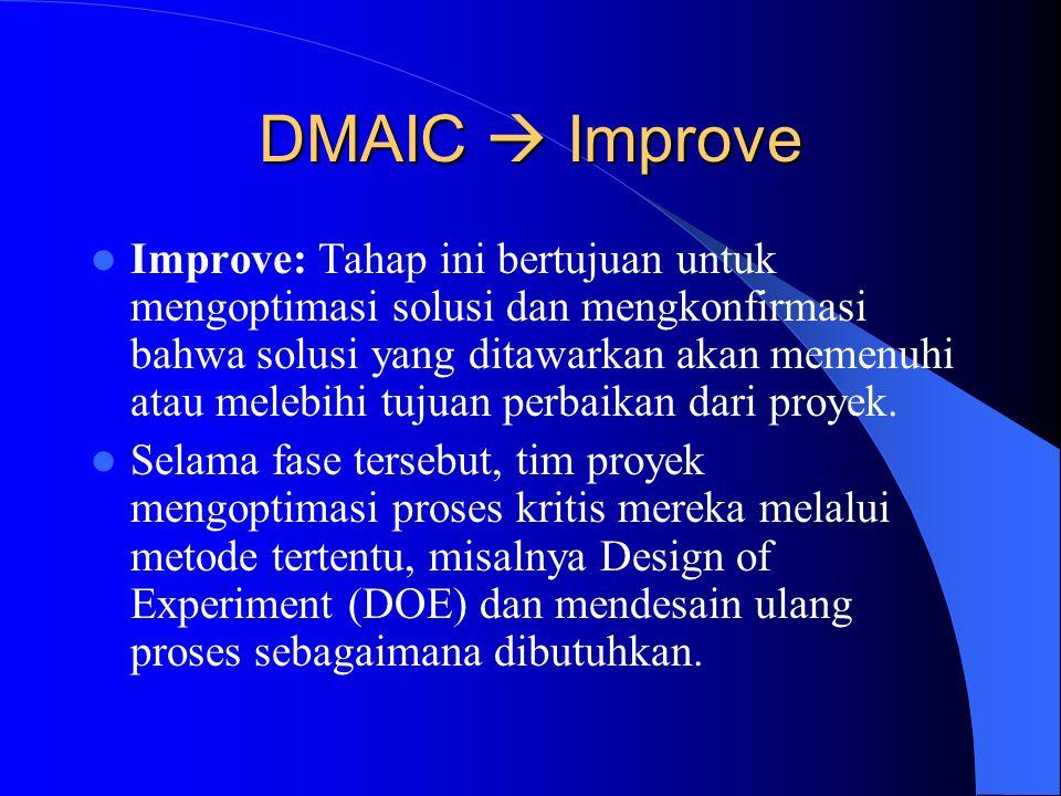 DMAIC  Analyze Analyze: Tahap ini bertujuan untuk menguji data yang dikumpulkan pada fase measure untuk menentukan daftar prioritas dari sumber varia
