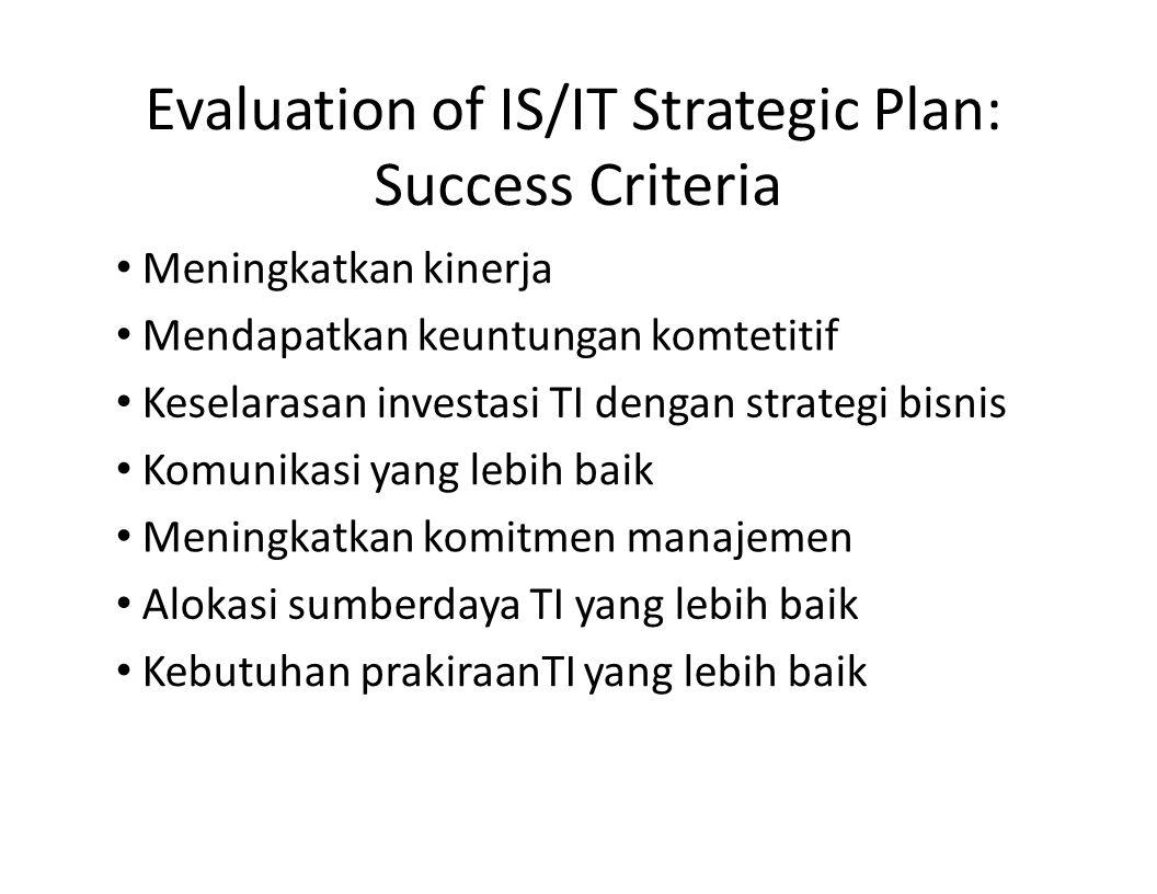 Evaluation of IS/IT Strategic Plan: Success Criteria Meningkatkan kinerja Mendapatkan keuntungan komtetitif Keselarasan investasi TI dengan strategi b