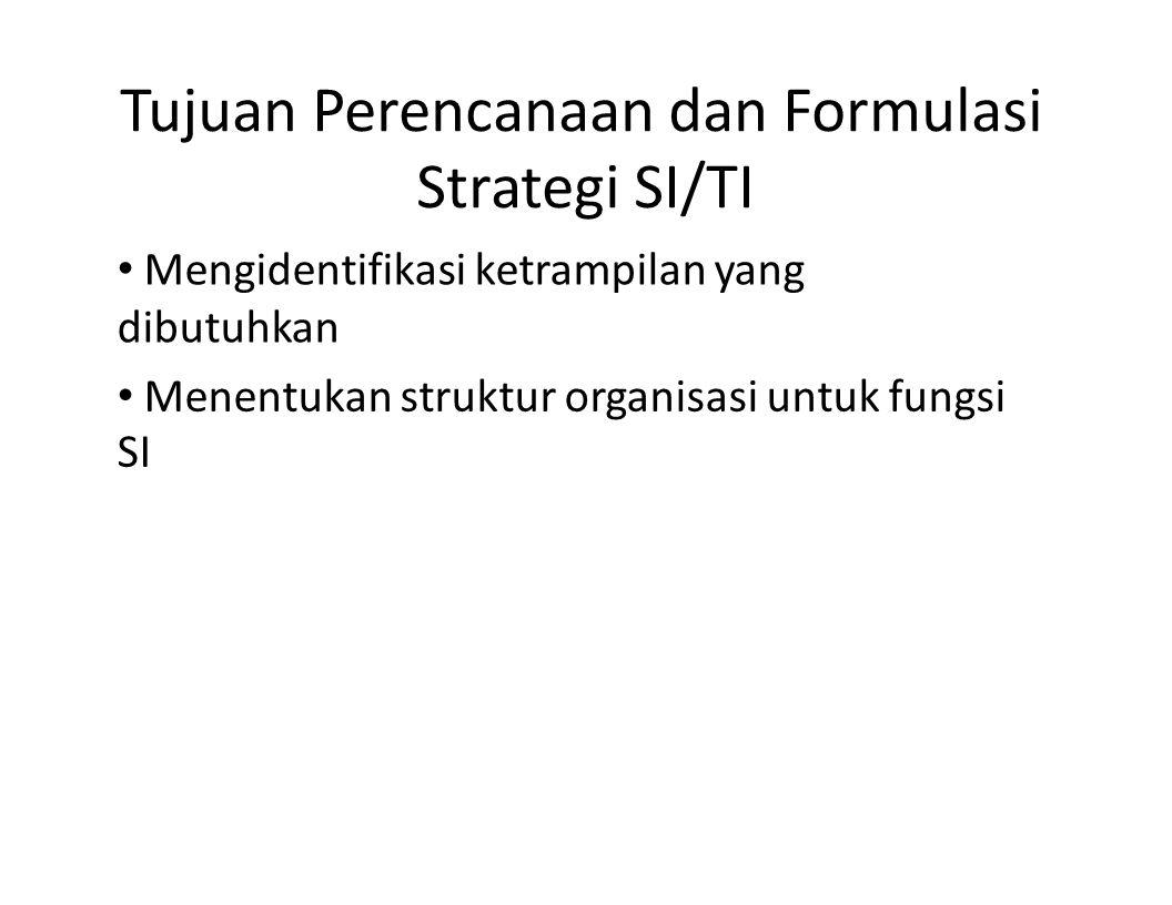 Tujuan Perencanaan dan Formulasi Strategi SI/TI Mengidentifikasi ketrampilan yang dibutuhkan Menentukan struktur organisasi untuk fungsi SI