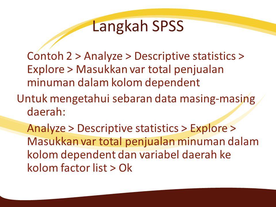 Langkah SPSS 2 (Mengetahui data outlier) Contoh 2 > Analyze > Descriptive statistics > Explore > Masukkan var total penjualan minuman dalam kolom dependent > klik plot, pilih none pada opsi boxplot dan pilih histogram > tik normality plot > continue dan Ok