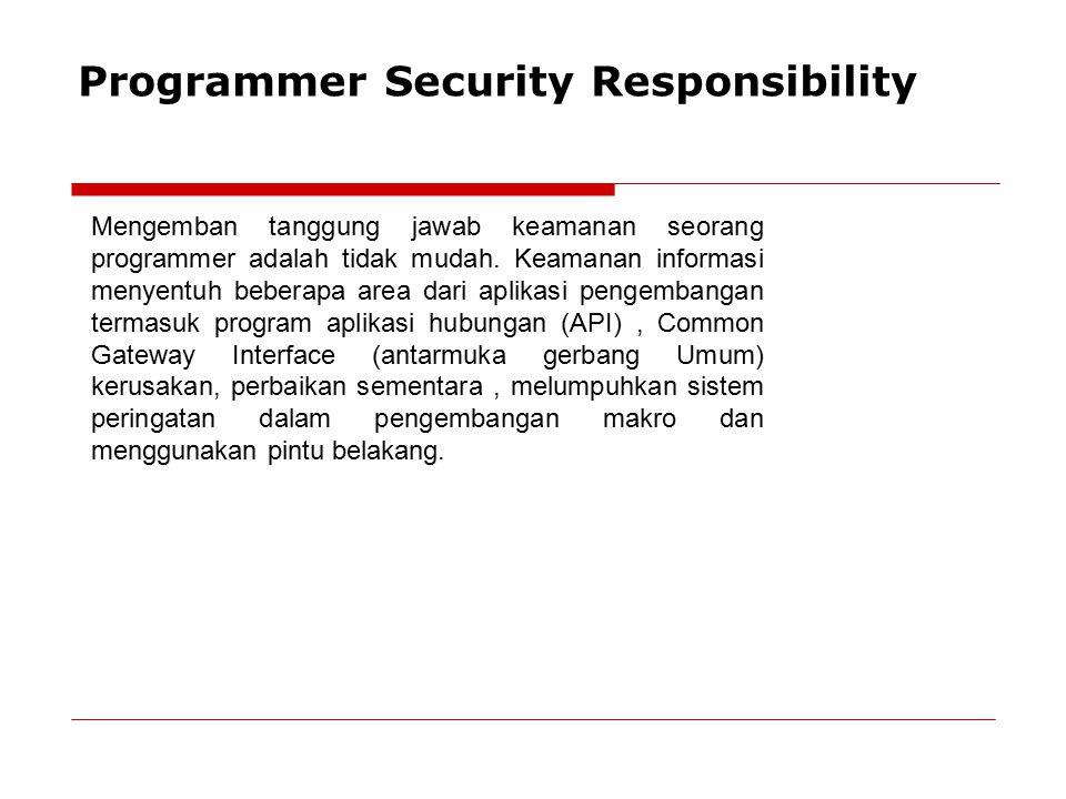 Programmer Security Responsibility Mengemban tanggung jawab keamanan seorang programmer adalah tidak mudah.