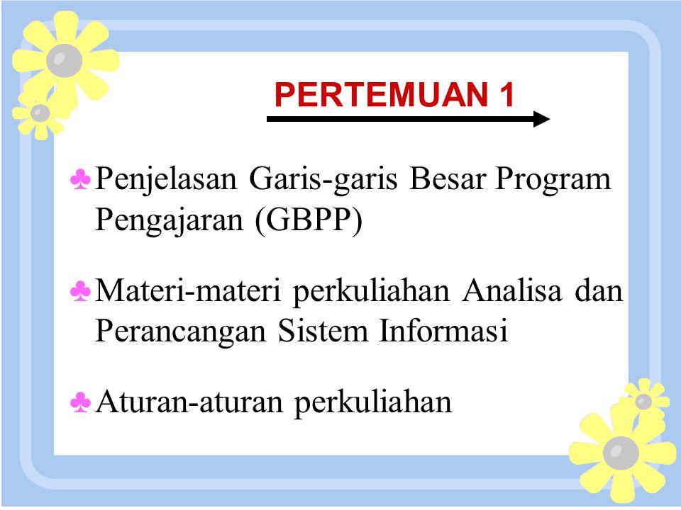 16 April 2015 PERTEMUAN 1 ♣Penjelasan Garis-garis Besar Program Pengajaran (GBPP) ♣Materi-materi perkuliahan Analisa dan Perancangan Sistem Informasi