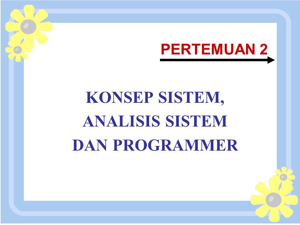 16 April 2015 PERTEMUAN 2 KONSEP SISTEM, ANALISIS SISTEM DAN PROGRAMMER