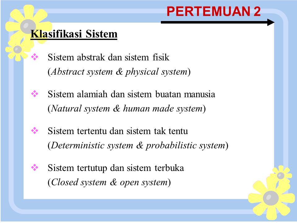 16 April 2015 PERTEMUAN 2 Klasifikasi Sistem  Sistem abstrak dan sistem fisik (Abstract system & physical system)  Sistem alamiah dan sistem buatan