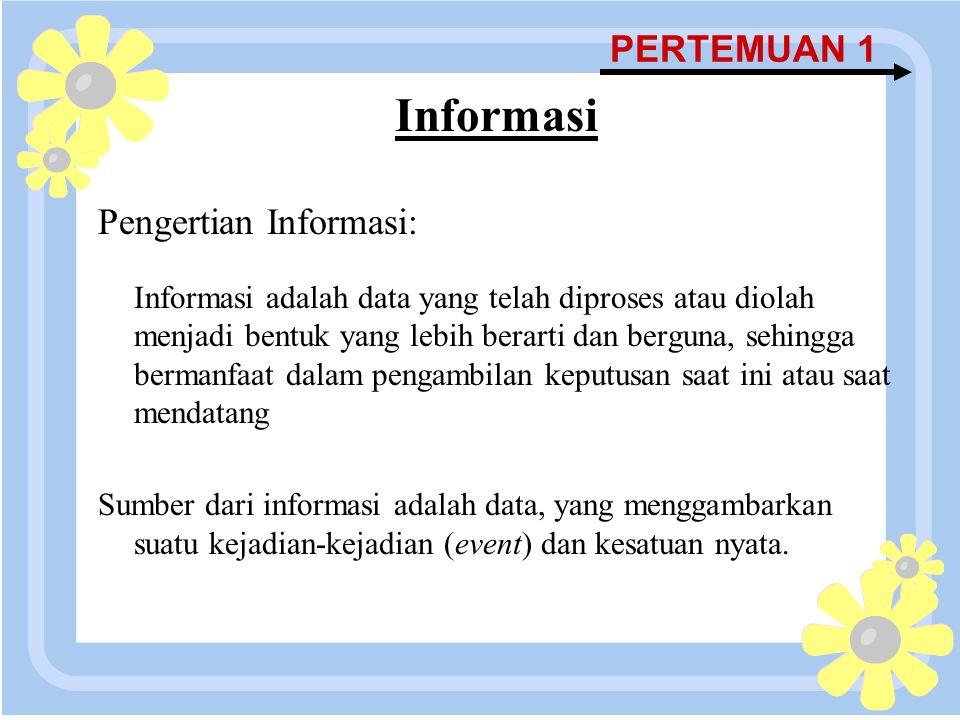 16 April 2015 PERTEMUAN 1 Informasi Pengertian Informasi: Informasi adalah data yang telah diproses atau diolah menjadi bentuk yang lebih berarti dan