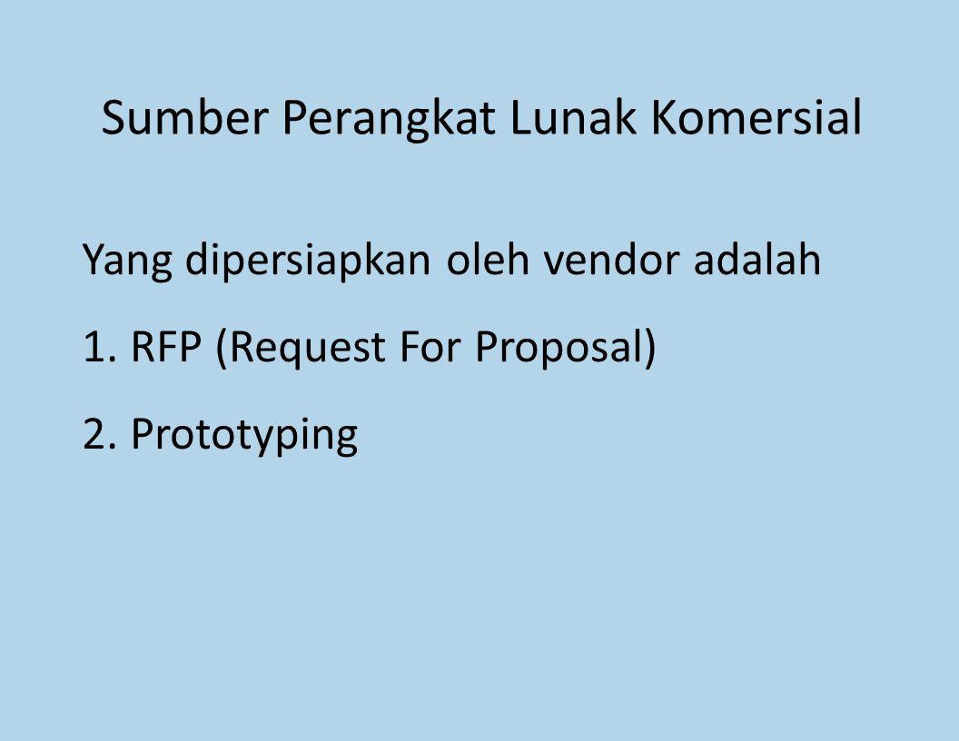 Sumber Perangkat Lunak Komersial Yang dipersiapkan oleh vendor adalah 1.RFP (Request For Proposal) 2.Prototyping