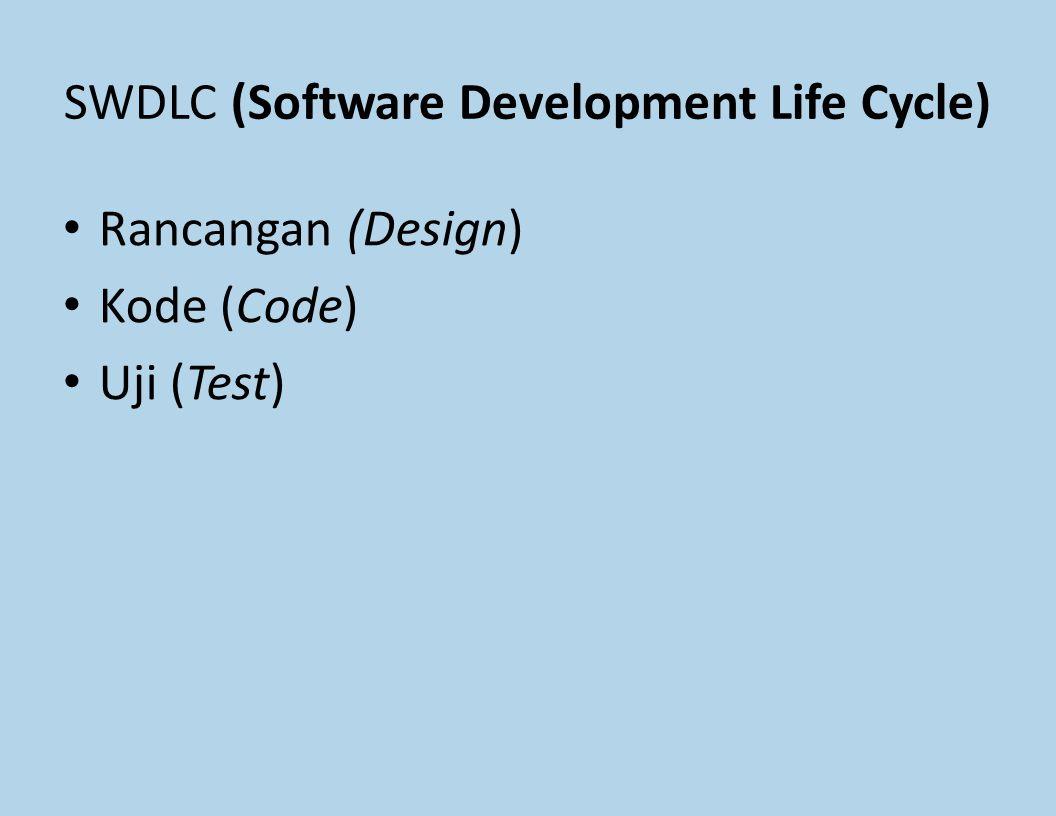SWDLC (Software Development Life Cycle) Rancangan (Design) Kode (Code) Uji (Test)