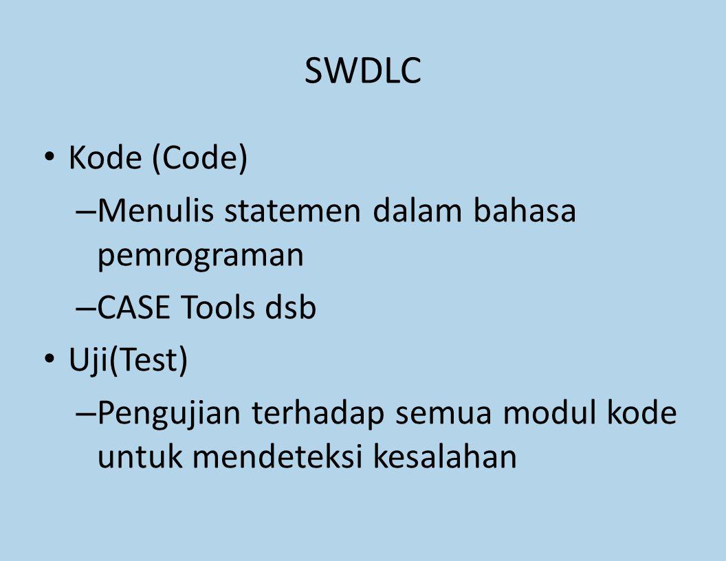 SWDLC Kode (Code) – Menulis statemen dalam bahasa pemrograman – CASE Tools dsb Uji(Test) – Pengujian terhadap semua modul kode untuk mendeteksi kesala