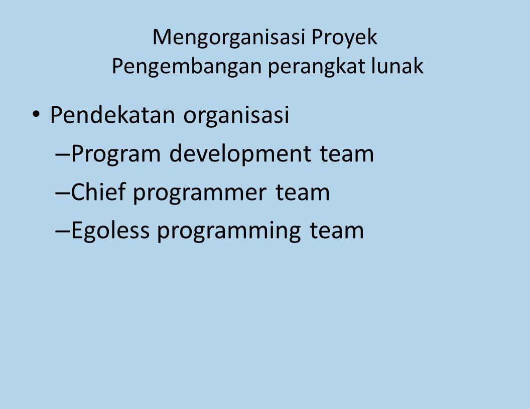 Mengorganisasi Proyek Pengembangan perangkat lunak Pendekatan organisasi – Program development team – Chief programmer team – Egoless programming team