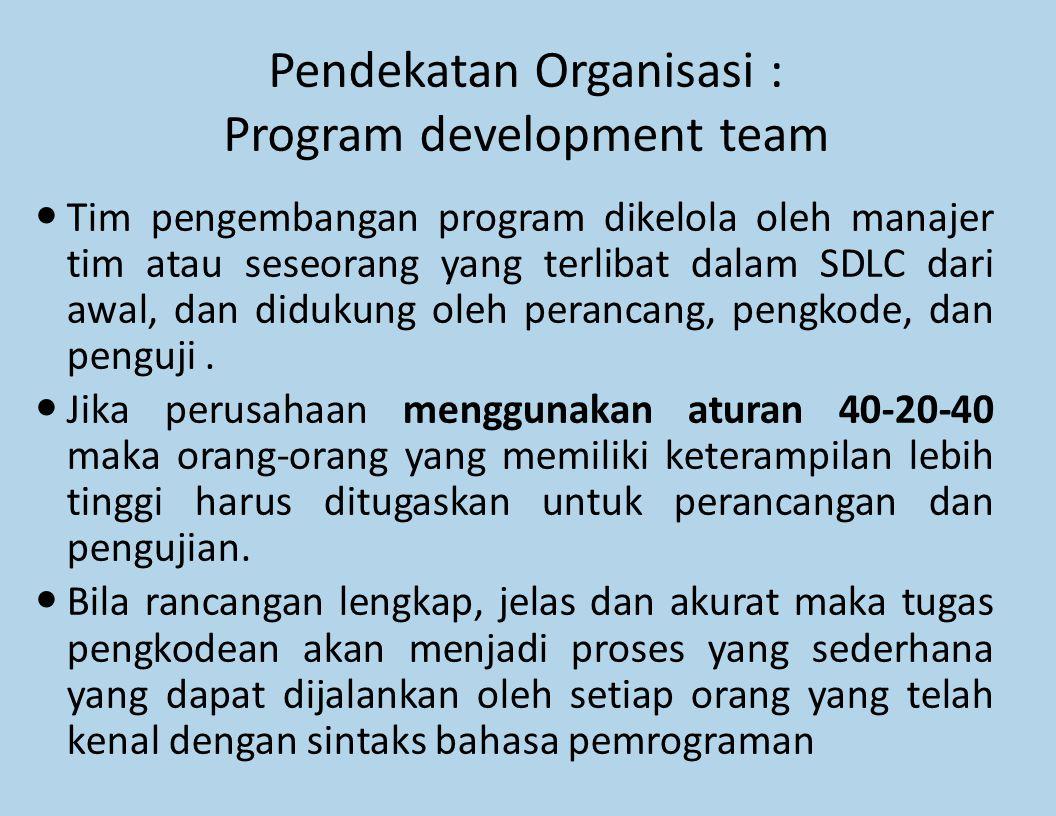 Pendekatan Organisasi : Program development team Tim pengembangan program dikelola oleh manajer tim atau seseorang yang terlibat dalam SDLC dari awal,