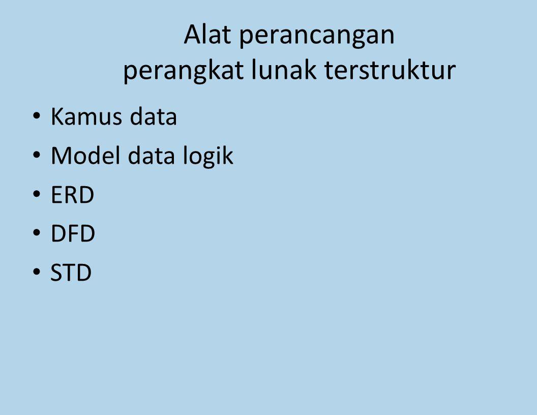 Alat perancangan perangkat lunak terstruktur Kamus data Model data logik ERD DFD STD