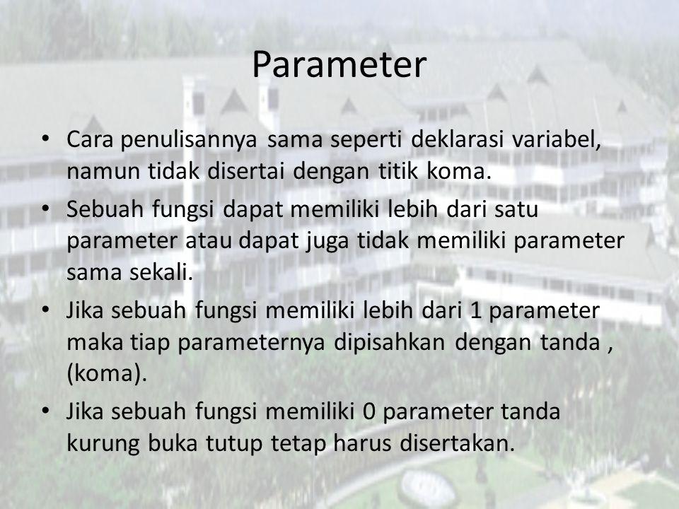 Parameter Cara penulisannya sama seperti deklarasi variabel, namun tidak disertai dengan titik koma.