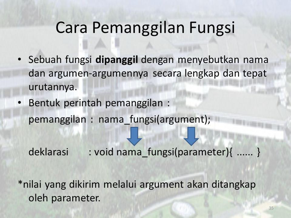 Cara Pemanggilan Fungsi Sebuah fungsi dipanggil dengan menyebutkan nama dan argumen-argumennya secara lengkap dan tepat urutannya.