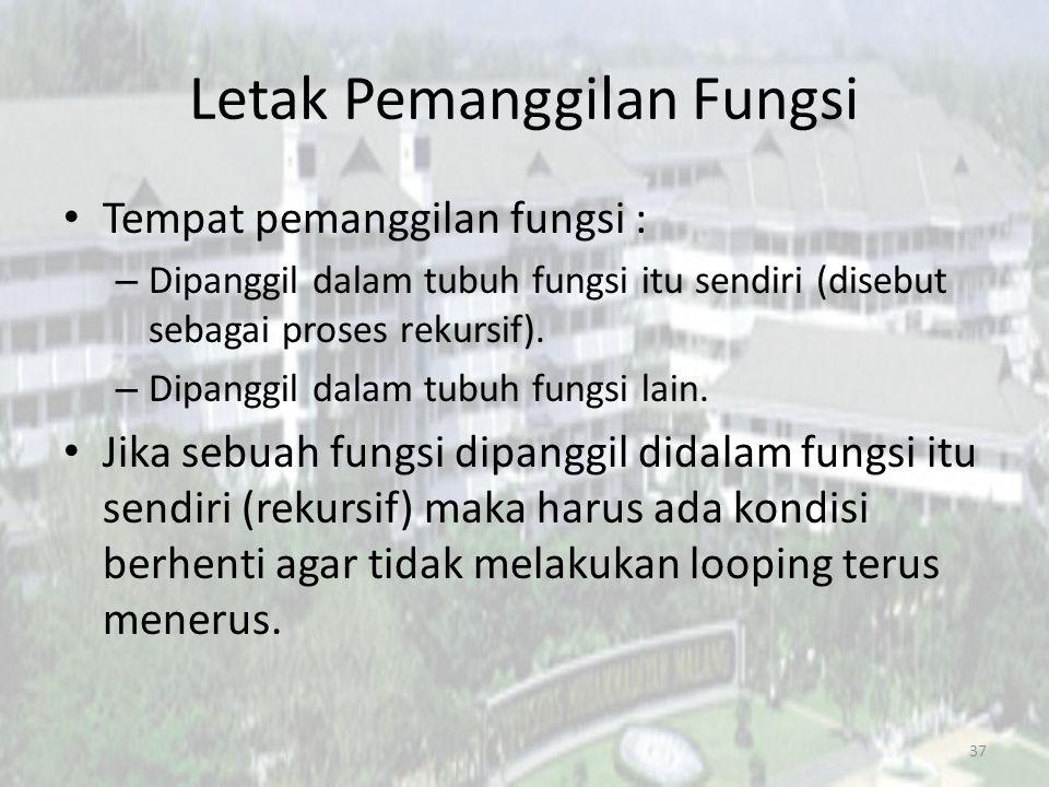 Letak Pemanggilan Fungsi Tempat pemanggilan fungsi : – Dipanggil dalam tubuh fungsi itu sendiri (disebut sebagai proses rekursif).
