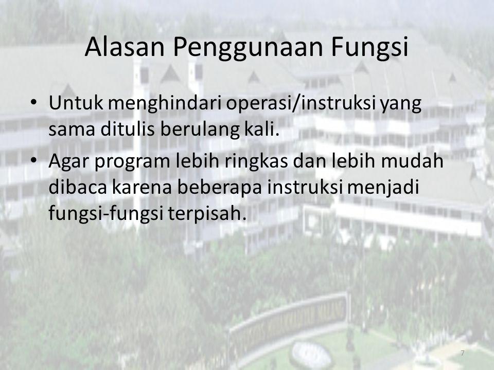 Alasan Penggunaan Fungsi Untuk menghindari operasi/instruksi yang sama ditulis berulang kali.