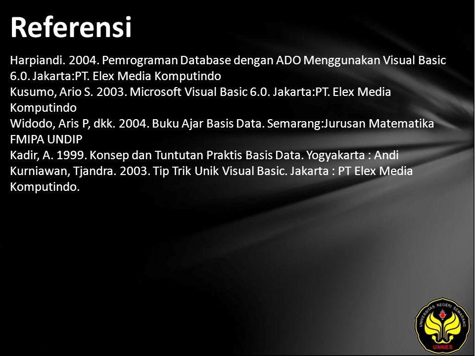 Referensi Harpiandi.2004. Pemrograman Database dengan ADO Menggunakan Visual Basic 6.0.
