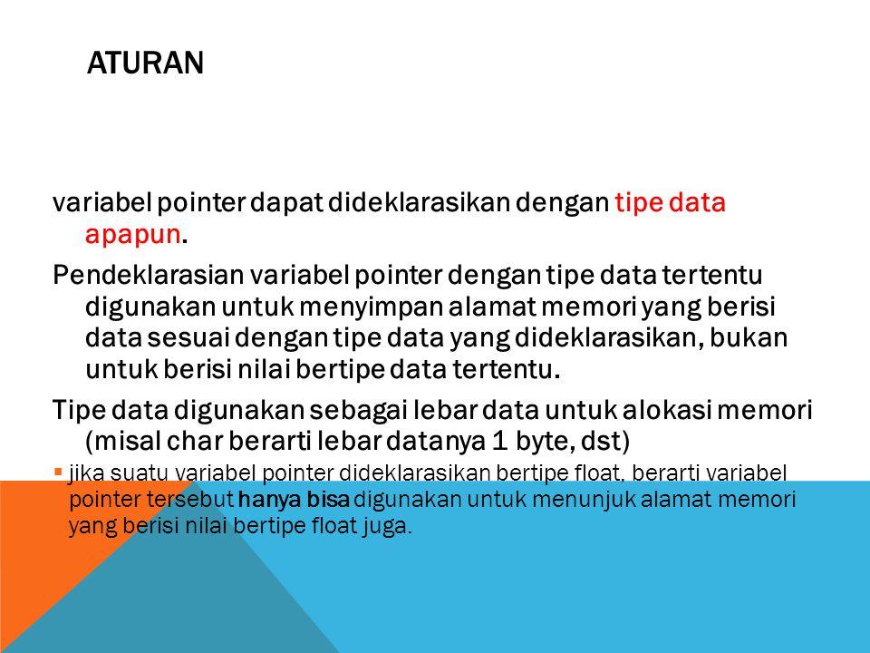 ATURAN variabel pointer dapat dideklarasikan dengan tipe data apapun.