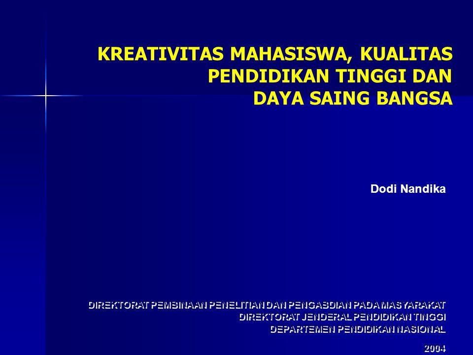 1 DIREKTORAT PEMBINAAN PENELITIAN DAN PENGABDIAN PADA MASYARAKAT DIREKTORAT JENDERAL PENDIDIKAN TINGGI DEPARTEMEN PENDIDIKAN NASIONAL 2004 DIREKTORAT