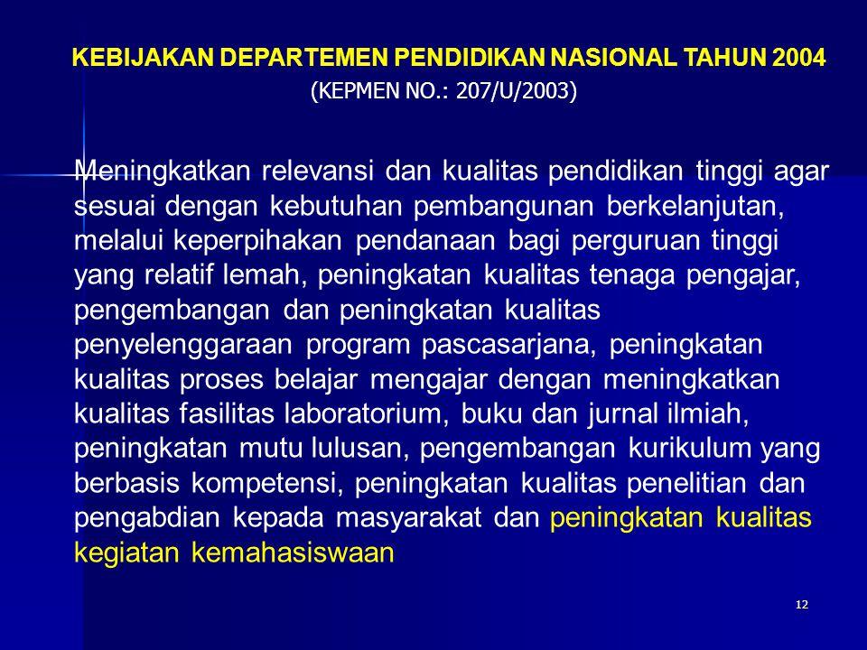 12 KEBIJAKAN DEPARTEMEN PENDIDIKAN NASIONAL TAHUN 2004 (KEPMEN NO.: 207/U/2003) Meningkatkan relevansi dan kualitas pendidikan tinggi agar sesuai deng