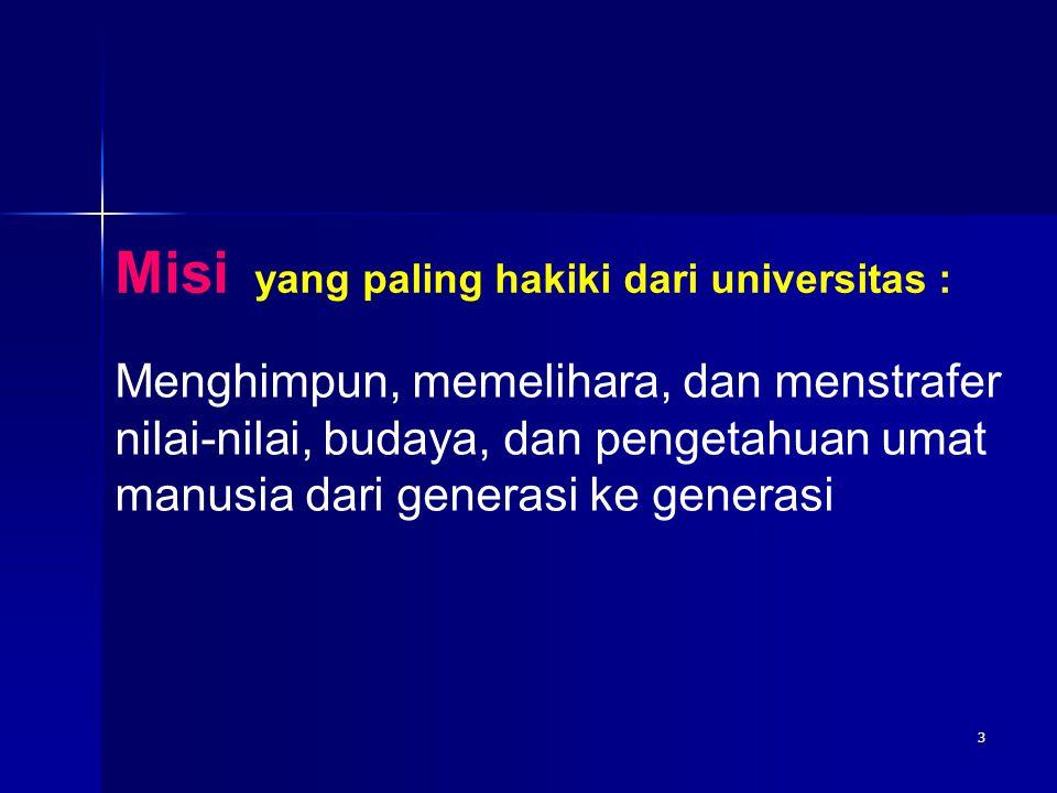 3 Misi yang paling hakiki dari universitas : Menghimpun, memelihara, dan menstrafer nilai-nilai, budaya, dan pengetahuan umat manusia dari generasi ke