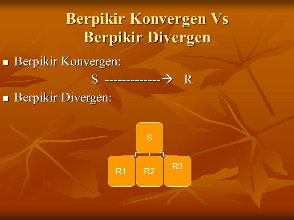 Berpikir Konvergen Vs Berpikir Divergen Berpikir Konvergen: Berpikir Konvergen: S -------------  R Berpikir Divergen: Berpikir Divergen: S R1R2 R3