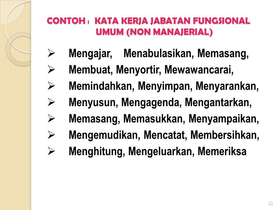 CONTOH : KATA KERJA JABATAN FUNGSIONAL UMUM (NON MANAJERIAL)  Mengajar, Menabulasikan, Memasang,  Membuat, Menyortir, Mewawancarai,  Memindahkan, M
