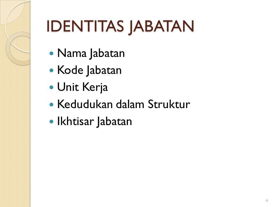IDENTITAS JABATAN Nama Jabatan Kode Jabatan Unit Kerja Kedudukan dalam Struktur Ikhtisar Jabatan 4