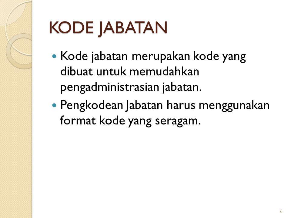 KODE JABATAN Kode jabatan merupakan kode yang dibuat untuk memudahkan pengadministrasian jabatan. Pengkodean Jabatan harus menggunakan format kode yan