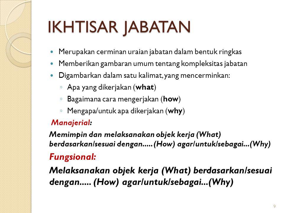 KORELASI JABATAN Korelasi jabatan adalah hubungan kerja yang dilakukan antara jabatan terkait dengan jabatan lain dalam konteks pelaksanaan tugas Hubungan jabatan dapat berupa: ◦ Hubungan Vertikal (atasan dengan bawahan) ◦ Hubungan Horizontal (hubungan dengan jabatan yang setara) ◦ Hubungan Diagonal (hubungan dengan jabatan yang lebih tinggi di organisasi yang berbeda) 30