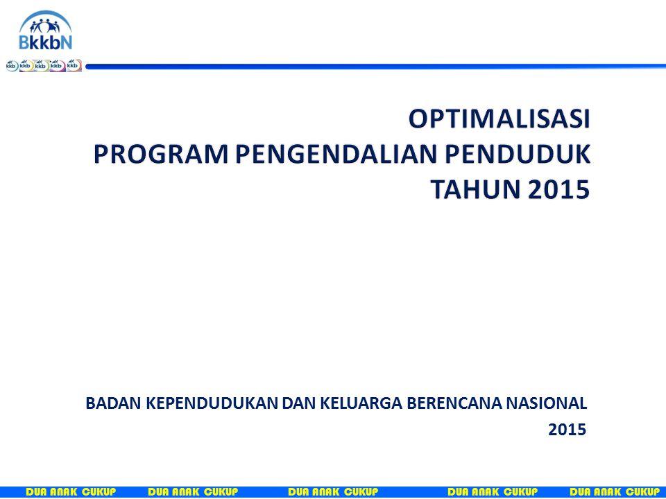 DUA ANAK CUKUP A.PENDAHULUAN B.PERKEMBANGAN LINGKUNGAN STRATEGIS 1.GLOBAL 2.REGIONAL 3.NASIONAL C.KONDISI PROGRAM PENGENDALIAN PENDUDUK SAAT INI D.OPTIMALISASI PROGRAM PENGENDALIAN PENDUDUK TAHUN 2015 1.KEBIJAKAN 2.STRATEGI 3.UPAYA E.KONDISI PROGRAM PENGENDALIAN PENDUDUK YANG DIHARAPKAN F.KESIMPULAN DAN REKOMENDASI