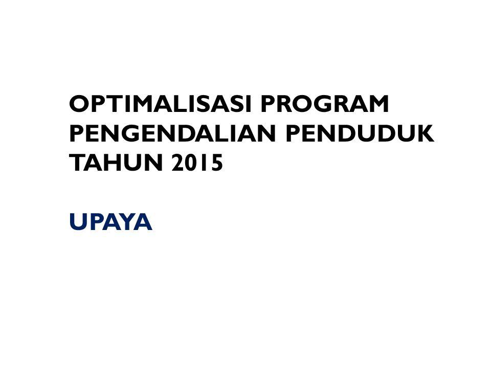 OPTIMALISASI PROGRAM PENGENDALIAN PENDUDUK TAHUN 2015 UPAYA