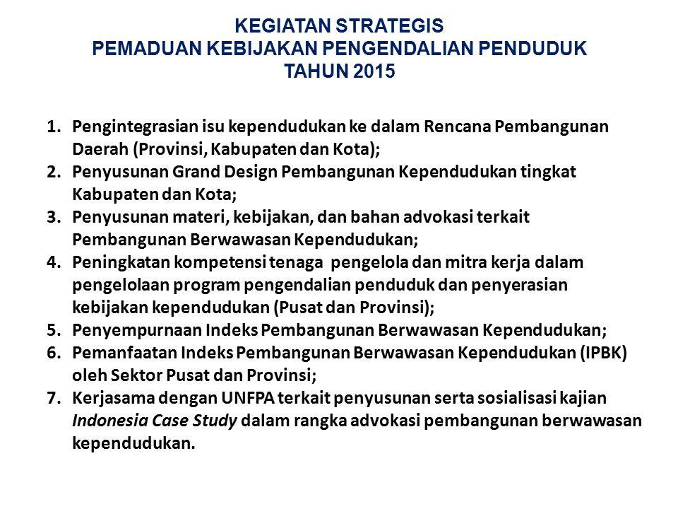 KEGIATAN STRATEGIS PEMADUAN KEBIJAKAN PENGENDALIAN PENDUDUK TAHUN 2015 1.Pengintegrasian isu kependudukan ke dalam Rencana Pembangunan Daerah (Provins