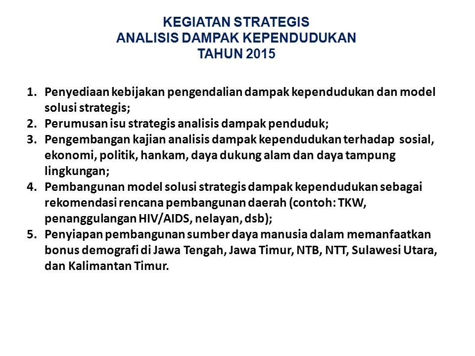 KEGIATAN STRATEGIS ANALISIS DAMPAK KEPENDUDUKAN TAHUN 2015 1.Penyediaan kebijakan pengendalian dampak kependudukan dan model solusi strategis; 2.Perum