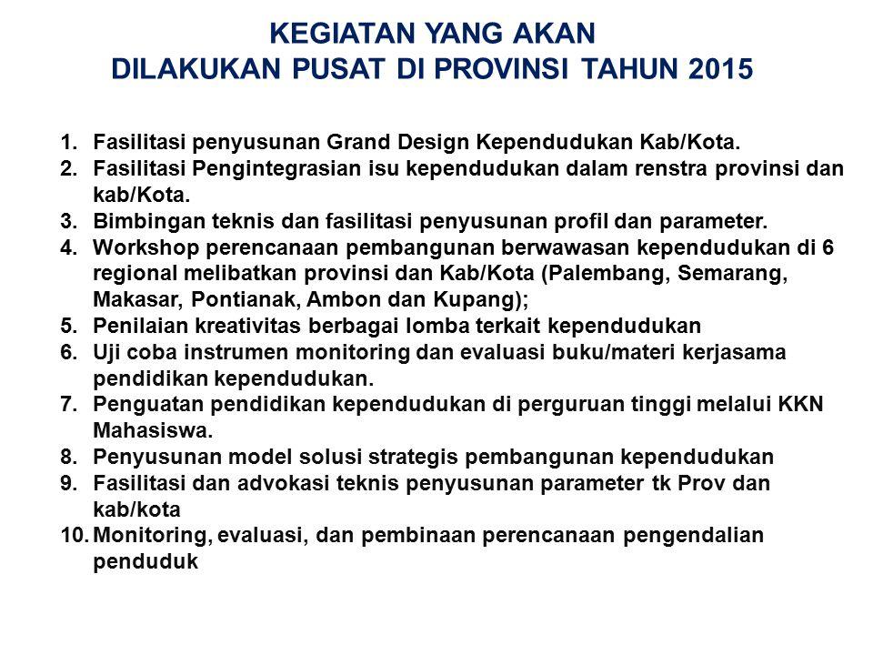 KEGIATAN YANG AKAN DILAKUKAN PUSAT DI PROVINSI TAHUN 2015 1.Fasilitasi penyusunan Grand Design Kependudukan Kab/Kota. 2.Fasilitasi Pengintegrasian isu