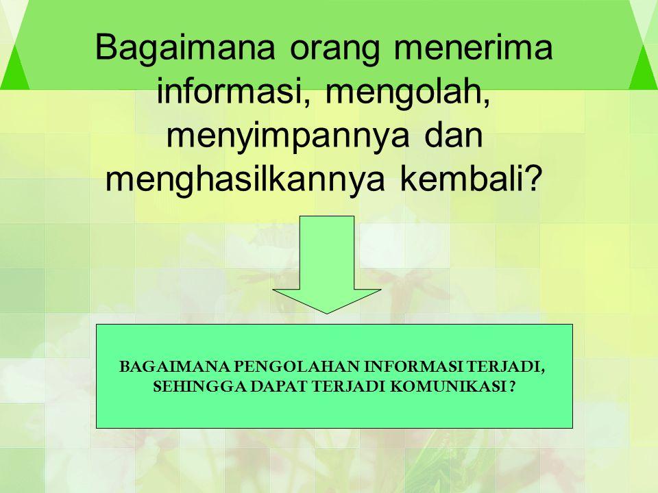 Bagaimana orang menerima informasi, mengolah, menyimpannya dan menghasilkannya kembali? BAGAIMANA PENGOLAHAN INFORMASI TERJADI, SEHINGGA DAPAT TERJADI