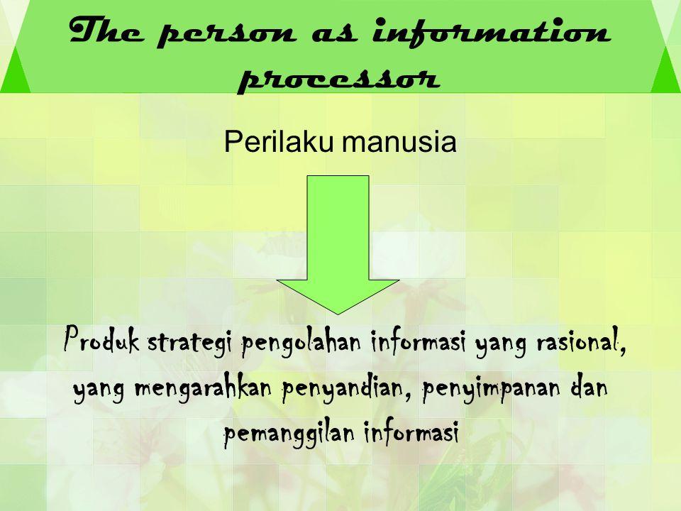The person as information processor Perilaku manusia Produk strategi pengolahan informasi yang rasional, yang mengarahkan penyandian, penyimpanan dan
