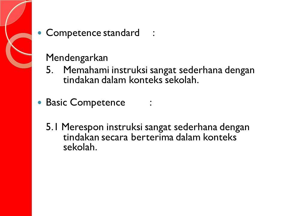 Competence standard : Mendengarkan 5.