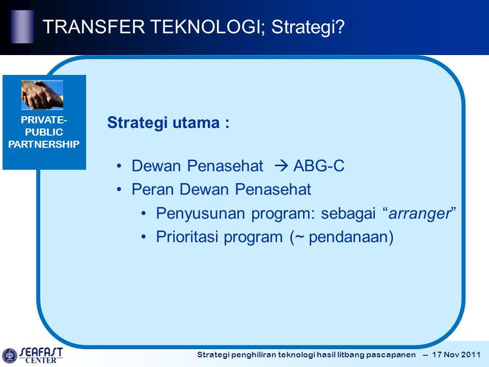 Strategi penghiliran teknologi hasil litbang pascapanen -- 17 Nov 2011 PRIVATE- PUBLIC PARTNERSHIP TRANSFER TEKNOLOGI; Strategi.