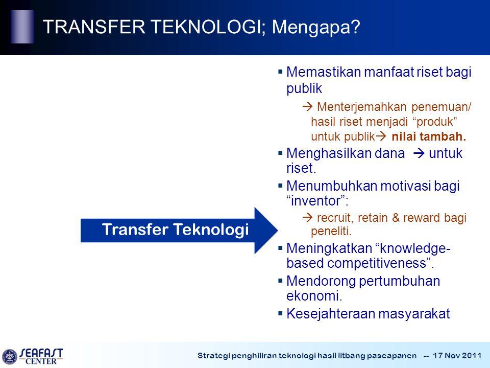 Strategi penghiliran teknologi hasil litbang pascapanen -- 17 Nov 2011  Memastikan manfaat riset bagi publik  Menterjemahkan penemuan/ hasil riset menjadi produk untuk publik  nilai tambah.