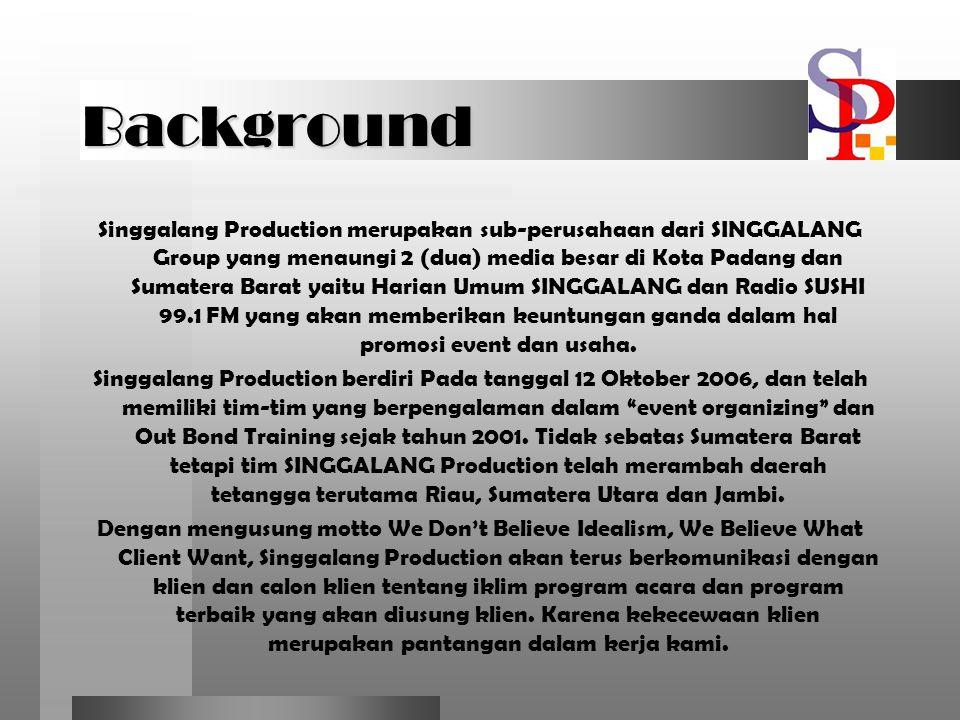 Background Singgalang Production merupakan sub-perusahaan dari SINGGALANG Group yang menaungi 2 (dua) media besar di Kota Padang dan Sumatera Barat ya