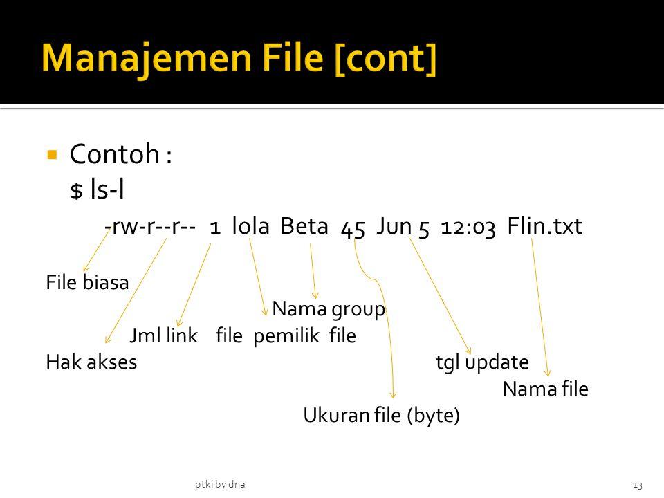  Contoh : $ ls-l -rw-r--r-- 1 lola Beta 45 Jun 5 12:03 Flin.txt File biasa Nama group Jml link file pemilik file Hak aksestgl update Nama file Ukuran file (byte) ptki by dna13