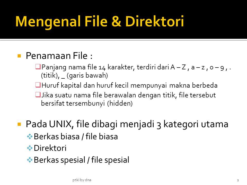  Penamaan File :  Panjang nama file 14 karakter, terdiri dari A – Z, a – z, 0 – 9,.