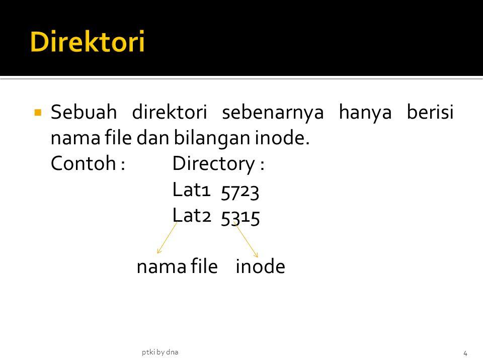  Sebuah direktori sebenarnya hanya berisi nama file dan bilangan inode.