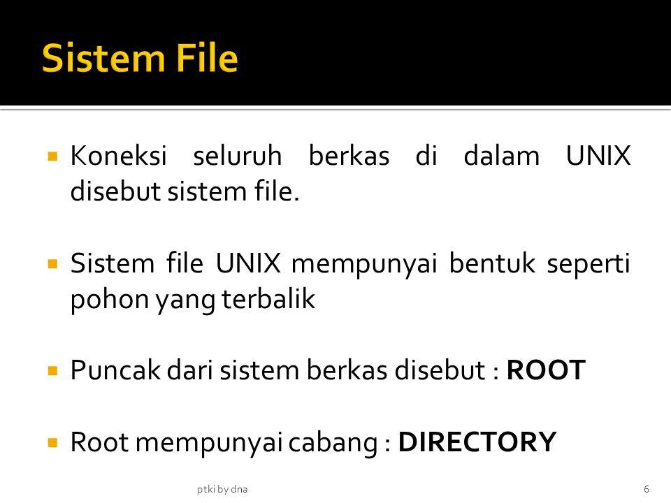  Koneksi seluruh berkas di dalam UNIX disebut sistem file.