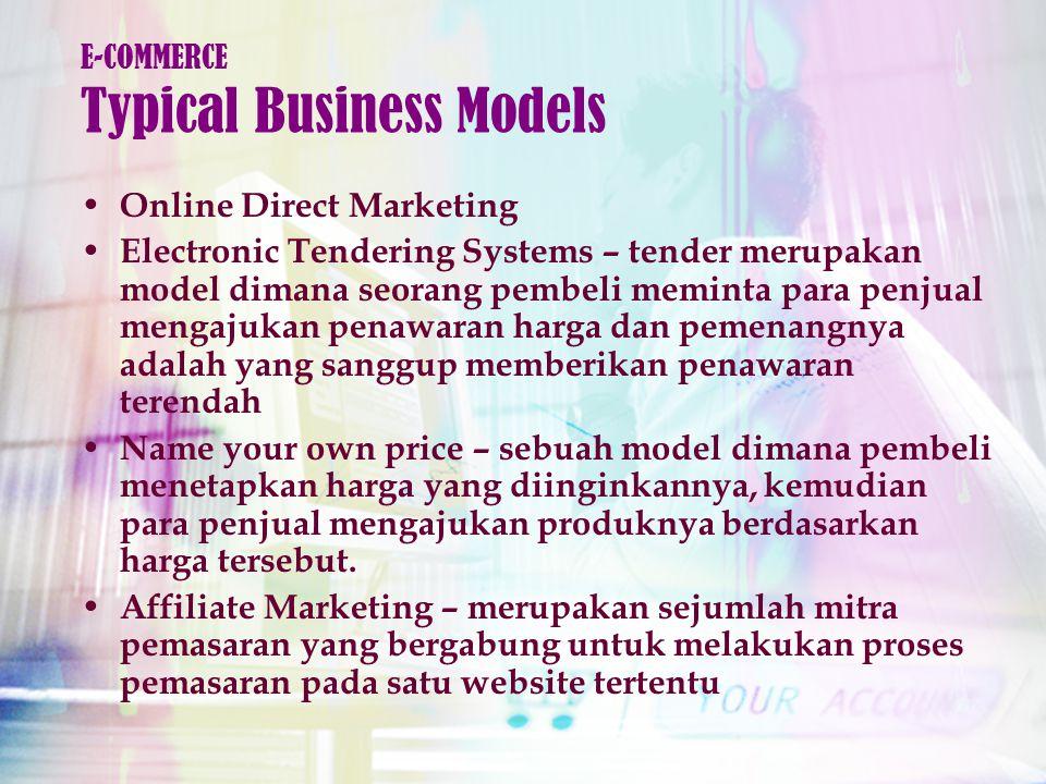 Online Direct Marketing Electronic Tendering Systems – tender merupakan model dimana seorang pembeli meminta para penjual mengajukan penawaran harga dan pemenangnya adalah yang sanggup memberikan penawaran terendah Name your own price – sebuah model dimana pembeli menetapkan harga yang diinginkannya, kemudian para penjual mengajukan produknya berdasarkan harga tersebut.
